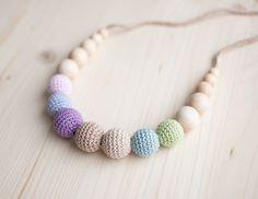 Collar de la dentición / Crochet collar de enfermería - Pastel colores, helado, gradiente