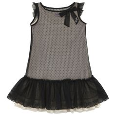 Black swiss-dotted tulle dress with flounces and a lace trim at the hem. Removable beige jersey lining. Machine wash at 30°C. - $ 109.00