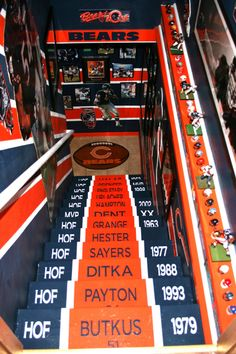 The Chicago Bears cave, This is my Chicago Bears basement/man cave! It has taken me over 100 hours to paint it. I used 12 rolls of blue painters tape. 7 tubes of paintable caulking! The walls were heavily textured, so to make the lines sharp and crisp I had to caulk over each tape line. The Bear head on the wall is not a Fat Head. It was done free hand from a picture. I first drew the outline in white chalk, then went back and made changes where I needed to. The chalk wipes off easy. The…
