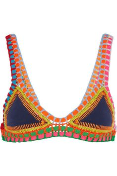Kiini - Tasmin Crochet-trimmed Triangle Bikini Top - Navy -