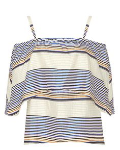 Tanya Taylor Ione Striped Off The Shoulder Blouse: The textured horizontal stripe pullover top features an off-the-shoulder cut with an elasticated stretch neckline. Thin straps. Relaxed fit with tiered ruffles at bodice. In blue/orange/ivory.     Fabric: 65% cotton/25% linen/10% acetate  Made in ...