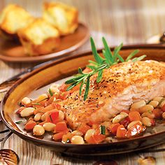 Salmon with White Beans in Tomato-Rosemary Broth