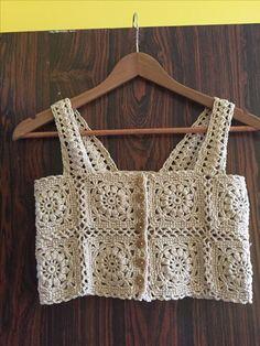 Crochet Tunic Pattern, Crochet Bra, Crochet Shirt, Crochet Crop Top, Crochet Motif, Crochet Clothes, Crochet Stitches, Diy Clothes, Diy Crafts