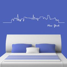 Wall Decal Vinyl Sticker Decals Art Decor Design Skyline Sign New York Words NY City Statue of Liberty Bedroom Office Dorm (r707) on Etsy, $28.99