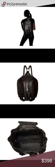 NWT Frye Clara fringe backpack 🎒 Frye quality black leather and suede backpack 🎒 The Frye® Clara Fringe Backpack mixes fashion and functionality that makes this an ideal backpack for the office and the weekend. Soft vintage Italian leather and suede backpack. Features beautiful fringe and tassel detail for a touch of style. Two leather shoulder straps with adjustable metal buckles. Interior fabric lining with leather strap and key clip. Front metal buckle closure. Width: 9 in Depth: 5 in…