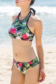 Vintage Halter Floral Printed Push Up Bikini Suit