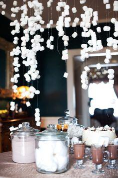 Marshmallow garland for hot chocolate bar.