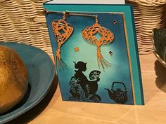 Asian themed notecard with Chinese lantern die cuts by handmadebykathiek on Etsy