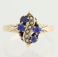 Victorian Simulated Sapphire Seed Pearl Ring 10K Yellow Gold 6 1 2 Antique | eBay