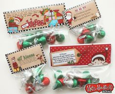 Elf Kisses bag toppers free printable