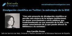 Charla con Ana Carrillo sobre la estrategia de divulgación científica en Twitter de la Biblioteca Nacional de España.  #Twitter #BNE #DivulgaciónCientífica Marketing Digital, Twitter, Socialism, Small Talk, Interview, Science, Social Networks