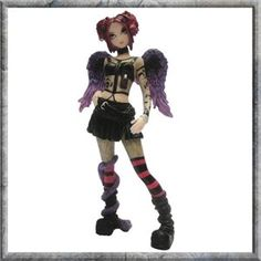 This sexy fairy has attitude!Hand painted fantasy fairy figurine by artist Myka Jelina. Alternative young gothic female figurine wearing striped long socks, angel wings and new rock style boots, red hair and a short black skirt. Dragon Figurines, Fairy Figurines, Enchanted Wood, Gothic Fairy, T Shirts Uk, Advanced Style, Lace Headbands, All Things Cute, Rock Style