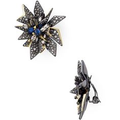 Alexis Bittar Two Tone Perennial Punk Clip-On Earrings (£282) ❤ liked on Polyvore featuring jewelry, earrings, two tone earrings, punk jewelry, punk rock jewelry, sparkle jewelry and alexis bit