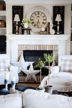 white wash fireplace decor | making our new house our home