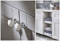 Crackle bar knobs add a decorative touch #Roseberry #paintedtimber #bathroomfurniture #myutopia
