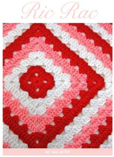 crochet granny square ric rac pattern from sarah london Crochet Blocks, Crochet Squares, Crochet Granny, Crochet Motif, Baby Blanket Crochet, Crochet Yarn, Crochet Stitches, Crochet Patterns, Crochet Blankets