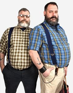 The Look Book - Fashion Designers Jeffrey Costello and Robert Tagliapietra -- New York Magazine - Nymag Fashion Designers Jeffrey Costello and Robert Tagliapietra Chubby Men Fashion, Large Men Fashion, Fat Fashion, Fashion Mode, Mens Fashion Suits, Look Fashion, Suspenders Fashion, Plus Size Mens Clothing, Style Masculin