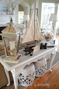 tweaks in our summer great room, home decor, living room ideas, Nautical themed vignette on our sofa table