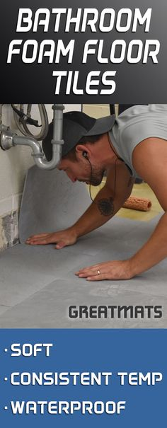 Soft bathroom floors have come a long way. It's time to check out Greatmats' selection of foam bathroom floor tiles. Foam Floor Tiles, Foam Flooring, Bathroom Floor Tiles, Basement Flooring, Penny Flooring, Ceramic Flooring, White Flooring, Pool Bathroom, Plywood Floors