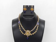 Indian Bollywood Handcrafted Polki Fashion Jewelry Necklace With Earrings set #Handmade