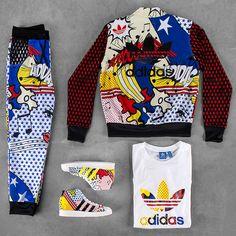 adidas and Rita Ora team up for a comic-strip-inspired lineup. See the full collection. Pop Art Fashion, Sport Fashion, Fitness Fashion, Womens Fashion, Sporty Outfits, Cute Outfits, Fashion Outfits, Ootd Fashion, Rita Ora Adidas