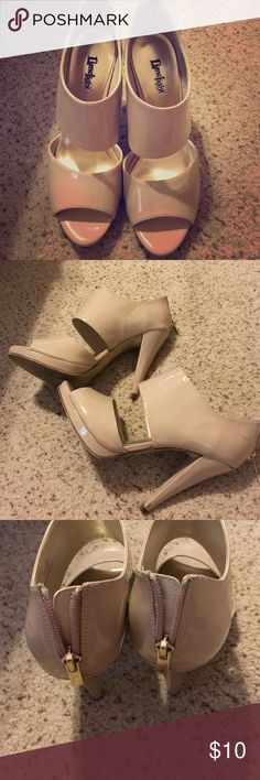 Trendy Bootie Heels.. Size 8 1/2.. $10 Trendy Nude Patent heels.. Only worn a couple times.. Back gold zipper which is sexy. Heels are high.. There is one small scruff mark but that is all! Size 8 1/2... $10 Shoes Heeled Boots