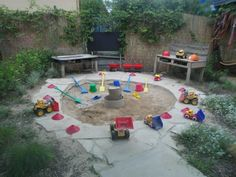 "A lovely outdoor sand area at Capalaba Child Care and Early Education Centre ("",)"