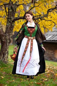 Hardanger bunad with a green silk and a black woolen skirt. The white apron has inlaid embroidery, which is known as Hardanger embroidery. Traditional Fashion, Traditional Dresses, Norwegian Clothing, Costumes Around The World, Folk Clothing, Islamic Clothing, Hardanger Embroidery, Ethnic Dress, Fashion Mode
