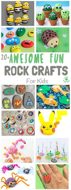 Who thought rocks could be so cool? 20 Awesome crafts to make from rocks! Perfect activities for preschool, kindergarten and first grade during the summer, summer camp or outdoor school! #summercrafts #naturecrafts #rockcrafts