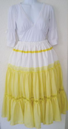 Yellow Gingham Long Skirt by MySewingWorkShop on Etsy