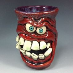 by WESLOW MISCHIEVOUS SMILE FREAK FACE SHOT GLASS ORIGINAL ART JUG MUG ARTIST ....SOLD.....