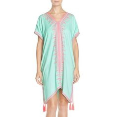 Lilly Pulitzer 'Sydney' Embroidered Crepe Caftan ($198) ❤ liked on Polyvore featuring tops, tunics, poolside blue, green top, blue top, lilly pulitzer tunic, caftan tunic and green tunic