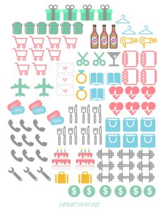 Planner icon stickers- Free printable for happy planner and others. Free silhouette file too!