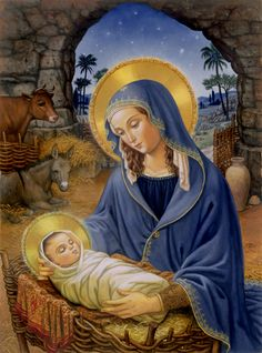 Nativity of Jesus Christ - Old pictures with depictions of Virgin Mary and Nativity of Child Jesus. Religious Pictures, Religious Art, Christmas Nativity, Christmas Art, Christmas Decorations, Jesus Jose Y Maria, Blessed Mother Mary, Mary And Jesus, Madonna And Child