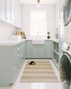 modern laundry room design, modern laundry room organization, laundry room cabinets with sink and open shelves and tile floor, laundry in mudroom design Mudroom Laundry Room, Laundry Room Organization, Laundry Room Design, Laundry Room With Storage, Laundry Room With Cabinets, Modern Laundry Rooms, Laundry Baskets, Narrow Laundry Rooms, Bathroom Laundry Rooms