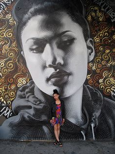 "El Mac Retna - ""Reina"" closeup with the model for the piece"