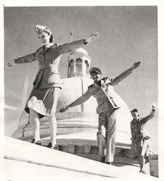WWII U.S. Army Nurses Walk the Ledge of U.S. Officers' Club in India Press Photo
