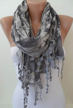 Grey Scarf  with Trim Edge  New Collection by SwedishShop on Etsy, $19.90