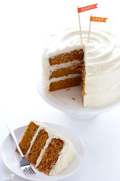 The BEST Carrot Cake Recipe -- perfectly moist and delicious, and made with a downright heavenly cream cheese frosting! | http://gimmesomeoven.com