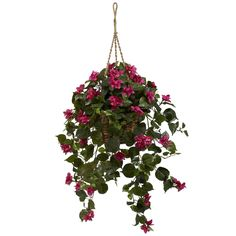 Nearly Natural Bougainvillea Silk Hanging Basket, Pink fuchsia (Plastic)