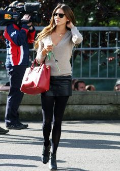 Jessica M. (Jensen Button's GF) - camel sweater, leather mini-skirt and black booties, red Prada handbag