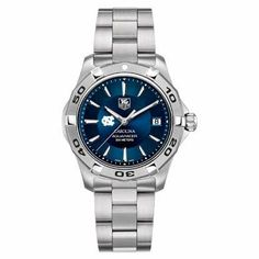 """UNC Men's TAG Heuer Blue Aquaracer by TAG Heuer. $2095.00. Officially licensed by the US Merchant Marine Academy. Classic American style by M.LaHart. University of North Carolina Men's TAG Heuer Blue Aquaracer watch with UNC logo in white; """"Carolina"""" written underneath.Brushed steel bracelet with a double security clasp. Case stamped from a block solid steel (39mm diameter). Unidirectional rotating bezel. Luminescent hands and indexes for optimum readability. Screw-in crown..."""