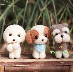 Felt Wool Material Bichon Frise Schnauzer Big Figure, Dog, Puppy, Pet, Felt Wool Animal, Felting Kit Material