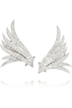 Ana Khouri|Wing 18-karat white gold diamond earrings. Shop the Fairy-tale issue of The Edit magazine.