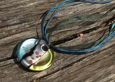 Metallic Abstract Necklace Dichroic glass by InspiredByKarma, $15.00 SOLD