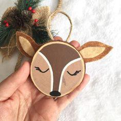 Items similar to Personalised Woodlands Deer wood slice art. Deer Tree Art on Etsy Deer Ornament, Wood Ornaments, Custom Ornaments, Wood Slice Crafts, Wood Crafts, Deer Wood, Holiday Crafts, Holiday Ornaments, Holiday Decor