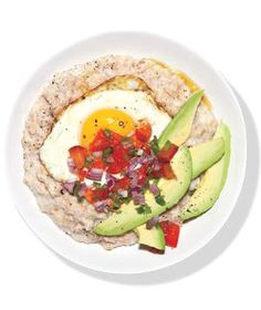 Oatmeal With Fried Egg and Avocado | Get the recipe for Oatmeal With Fried Egg and Avocado.