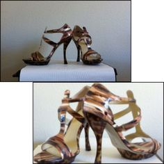 """Christian Siriano Sexy Strappy Heels EUC.      Size 10-TTS.      5"""" Heel.     1"""" Platform.       I LOVE these shoes!!!!!  Shades of brown on the manmade upper combined with the animal print heel and platform - these are to die for!  The upper most strap has elastic on both sides to slip on the shoe. Only worn a few times; very small scratch on inner left heel (see picture #4, top left).  Soles reflect minor wear. No box.                            (0002) Christian Siriano Gold for Payless…"""