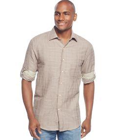 Tasso Elba Island Textured Linen-Blend Shirt