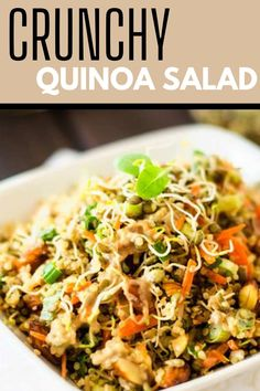I really want to try new gluten-free quinoa salad recipes and this Crunchy Quinoa Salad looks so good! I can't wait to cook this easy meal for my family. It looks like the perfect vegan lunch. SO PINNING! Best Quinoa Recipes, Vegetarian Salad Recipes, Healthy Gluten Free Recipes, Gluten Free Quinoa Salad, Healthy Meats, Veggie Side Dishes, Dinner Salads, Casseroles, Sauces